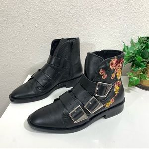 Zara Embroidered Black Leather Buckle Ankle Boots